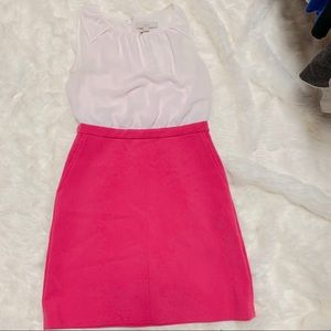 Dress - white and hot pink from Loft